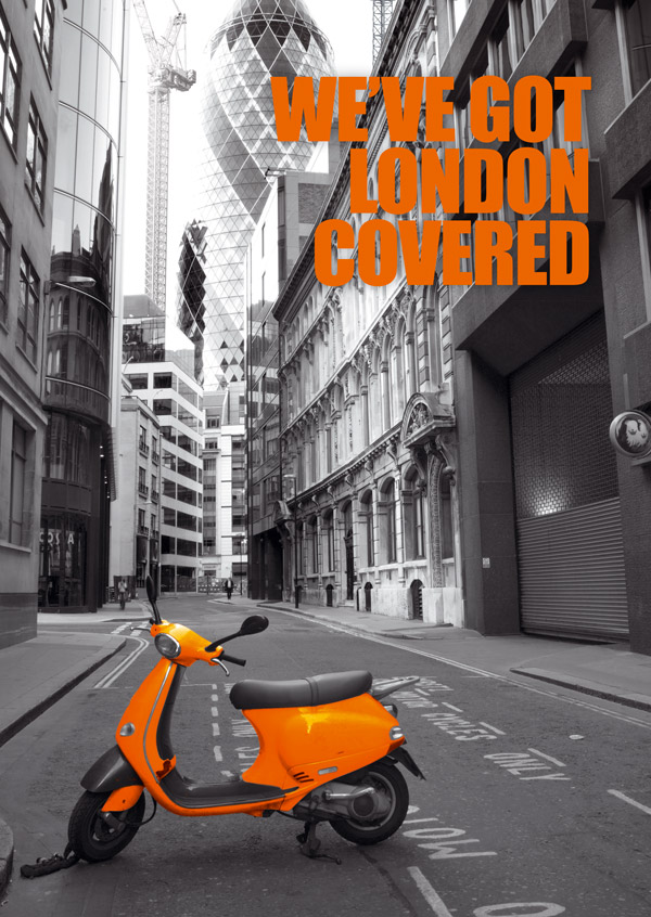 Bellway poster of orange moped in black and white street
